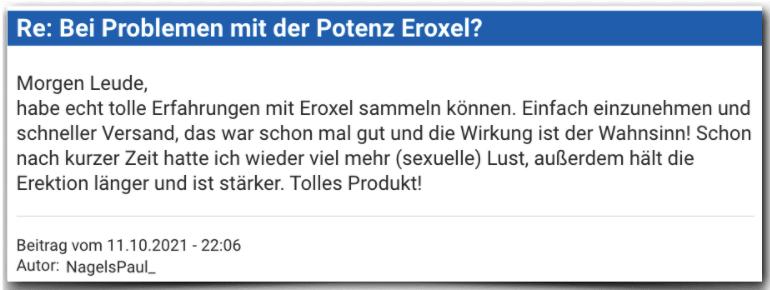 Eroxel Erfahrungsbericht Bewertung Erfahrungen Eroxel
